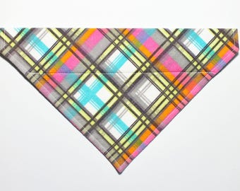 SALE Size Medium Ready to Ship Pink Plaid Dog Bandana, Dog Scarf, no tie bandana, slip on bandana, pet bandana, doggy scarf