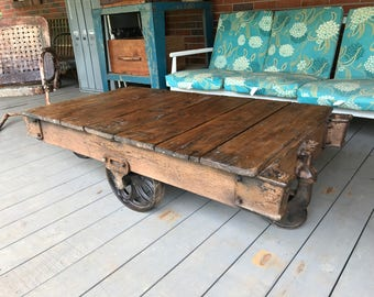 Superbe Vintage Wood Factory Cart Repurposed Coffee Table Industrial Rustic Heavy  Iron Casters