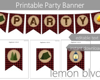 Camping Party Banner | Camping Instant Digital Download | Editable Text | Camping Red Plaid Party Bunting Banner | Camp Party