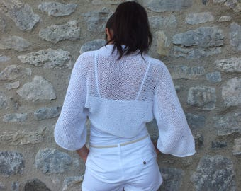 White Shrug, Shrug, Knit Bolero, Summer shrug, Women shrug, Beach cover up, Dress cover