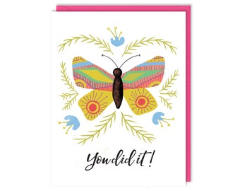 You Did It! - Congratulations - Butterfly Card - Greeting Card