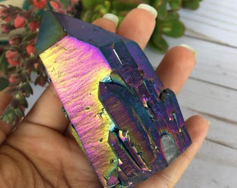 Large Rainbow Aura Quartz - Rainbow Aura Quartz Point- Quartz Point- Aura Quartz- Titanium Aura Quartz- Metaphysical Crystals- Reiki