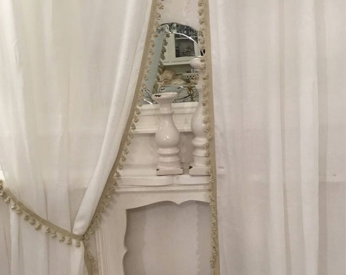 Set of 2 white linen curtains FREE DELIVERY