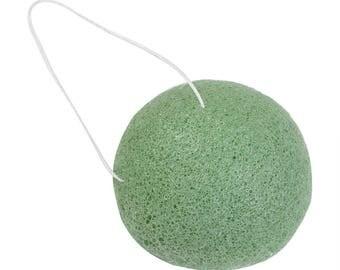 Green Tea Konjac Sponge - Vegan , Plant Based Cleansing Sponge, Natural Biodegradable