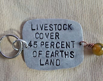 Animal Rights Metal Stamp Keychain