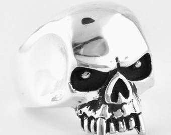 June SALE Sterling Silver 925 Skull Fang Ring Made in USA