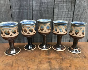 Studio Pottery Goblets/ Wine Glasses/ Chalice/ Ceremonial Glasses ~ Set of 5