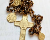 Rosary - Eucharist Rosary - Dark Amber Glass - St Mary Magdalene & Saintes-Maries - 18K Gold Vermeil