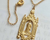 Necklace - Immaculate Conception 22x54mm- 18K Gold Vermeil + 18 inch 18K Gold Vermeil Chain