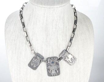 Graziella Laffi Peru sterling necklace w/lapis eyes