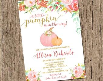 Pumpkin Baby Shower Invitation, Fall Baby Shower Invitation, Little Pumpkin Shower Invitation, pink gold Printable Baby Shower Invitation