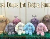 Monogrammed Easter Bunny - Easter Basket Gift - Pink Easter Bunny - Girl Easter Gift - Boy Spring Gift - Baby First Easter