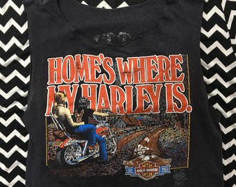 VTG 3D Emblem Harley Davidson Tank Top - XS Womens - Cropped - Chopped  -Vintage Tee - Vintage Clothing -