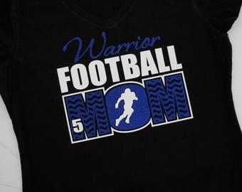 Chevron Football Mom Shirt with Player Number Long sleeves, Sweatshirt, Tank Custom team name (Warriors shown), team colors & player number!