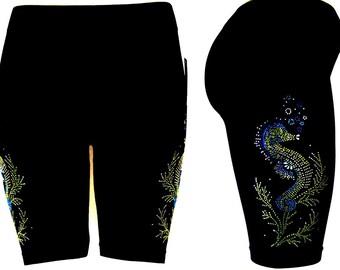 Plus One Size Shorts Embellished Rhinestone Seahorses Active Bike Yoga Sport Shorts