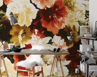Vintage Floral Wallpaper, Wall Mural, Floral Home Décor, Floral Decorations, Floral Design, Wall Decal, Removable Wallpaper B002