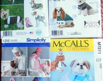 NEW (4) Simplicity & McCall's Dog Clothes Coats Shirts Travel Costumes and Accessories Sizes XS-XL
