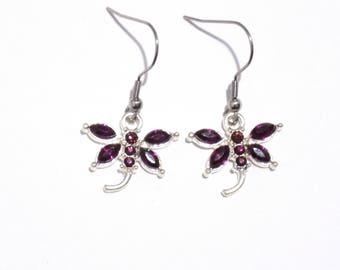Dragonfly earrings, purple earrings, silver earrings,  womens earrings,  dangle earrings, purple dragonfly charms,  charm earrings
