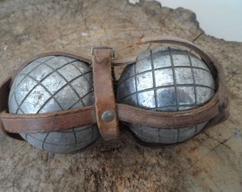 2 Vintage Boule circa 1950 all original French Petanque Boules set with leather carry case. Set #4
