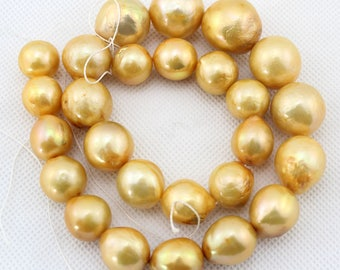 Natural Pearl Beads,golden Pearl Beads,Graduated strand Pearl Beads,golden Beads,One Full Strand,Gemstone Beads--13-18mm---15 inches--BP078