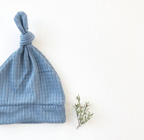 Beanie/Hat - Infant Knot Beanie in Blue Waffle Knit