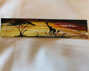 Hand painted leather bookmark - giraffe - BKMK2-11