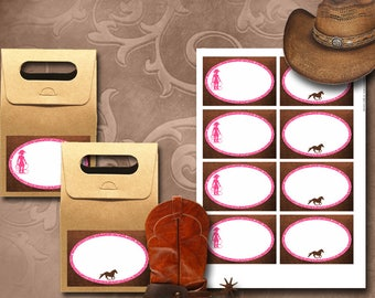 Cowgirl Labels Instant Download Printable Cowgirl Labels