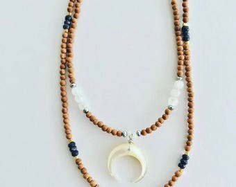 Sandalwood Necklace with Pendant and Gemstones