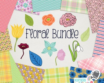 Floral Digital Paper and Clip Art BUNDLE - save 60% on Northern Whimsy hand drawn spring floral sets! Commercial use (CU) license included.