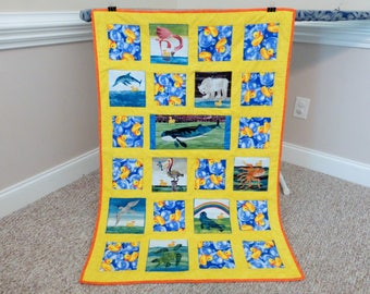 Quilt made from 10 little rubber ducks fabric, Quilt made from Eric Carle fabric, The Hungry Caterpillar, Baby Toddler Cotton Quilt Blanket