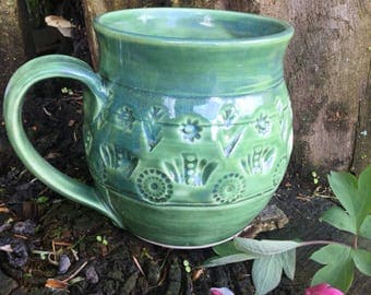 14 Ounce - Handstamped Mug - Misty Celadon - Wheel Thrown Pottery