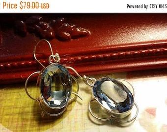 SUMMER CLEARANCE SALE London Blue topaz   Earrings Gemstone  .925 Sterling  Silver
