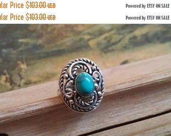 Holiday SALE 85 % OFF Size 5.5 Turquoise Ring Gemstone. 925 Sterling  Silver