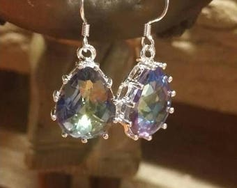 Holiday SALE 85 % OFF Mystic Topaz Gemstone 925 Sterling Silver   Earrings