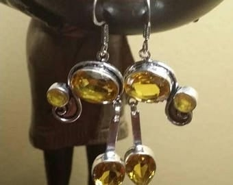 Holiday SALE 85 % OFF Citrine  Earrings .925 Sterling Silver Gemstone