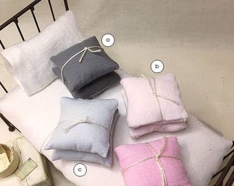 1 1/2 Inch Shabby Chic Cotton Miniature Dollhouse Throw Pillow Set - 1 1/2 Square - Pick A Color
