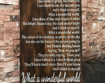 What A Wonderful World Song Lyric Distressed Wood Sign Inspirational Handmade Sign Stained Walnut Framed Fixer Upper 17x25 Sign