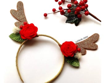 Reindeer antlers headband christmas headband reindeer headband baby headband glitter headband