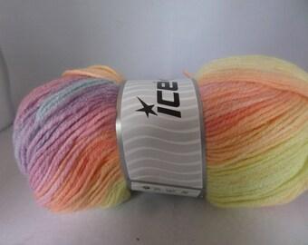 Ice magic yarn, Ice Magic Light, Self striping, Ice brand yarn, Rainbow yarn, Pale pastel shades, Gradient yarn, Acrylic yarn, crochet