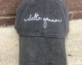 Delta Gamma Handwriting Script Baseball Cap- Officially Licensed Greek Sorority Ball Hat - Shoreline Greek Caps