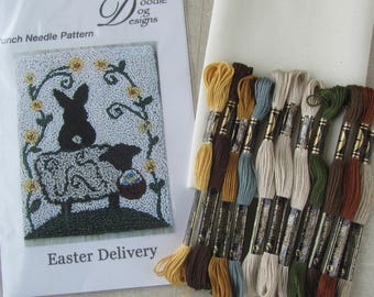 Primitive Punch Needle KIT ~ Sheep with Easter basket ~ Easter bunny ~ punchneedle pattern ~ needle punch kit ~ Spring punch needle