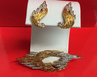D'Orlan Clip on Earrings with Brooch Abstract Design Gold Tone