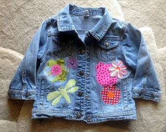 Girl's Denim Jacket,  size S 6 to 6X, upcycled denim with lots of embellishments: flowers, ladybugs, dragonflies and added sparkles