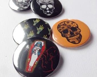 Halloween badge set - Badges - Sugar Skull Badges - Button Badge - Gothic Badge - Pin badge set - Halloween - Witch Button - Witch Badge