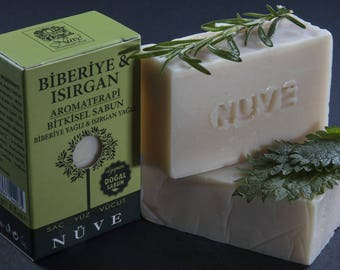 Nuve Rosemary Nettle Soap - Handmade Aromatherapy Herbal Collection - All Natural With Olive Oil (110 gr. / 4 oz.)
