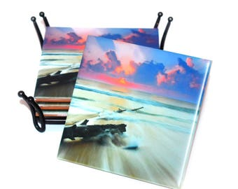 Valentines Day Gift For Her Beach Coasters / Ceramic Tile Photographic Coaster(s) /Driftwood Coaster Set /New Homeowner Beach House