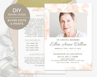 Funeral Program Template - Memorial Program Template, Obituary Template, In Loving Memory Funeral Template, Funeral Brochure