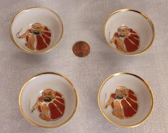 Vintage Japan Set of Four Daruma Sake Cup white and red Daruma design Bodhidharma