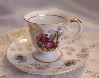 Vintage Wako China Tea Cup and Saucer, Man and Woman Pattern Hand Painted Gold Rim