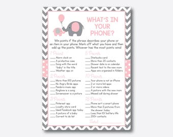 Instant Download, Elephant What's in Your Phone Game, Elephant Phone Raid Game, Elephant Baby Shower Games, Pink Gray Chevron, Girl (SBS.36)